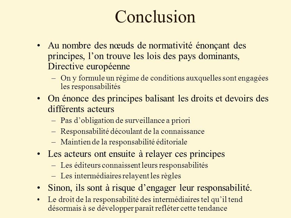 Conclusion Au nombre des nœuds de normativité énonçant des principes, lon trouve les lois des pays dominants, Directive européenne –On y formule un ré