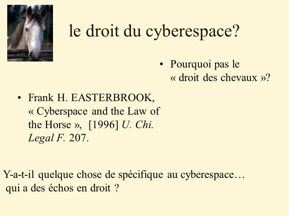 Dans le cyberespace…les règles: émanant des pôles de normativité se relayent et se diffusent dans les différents espace virtuels.
