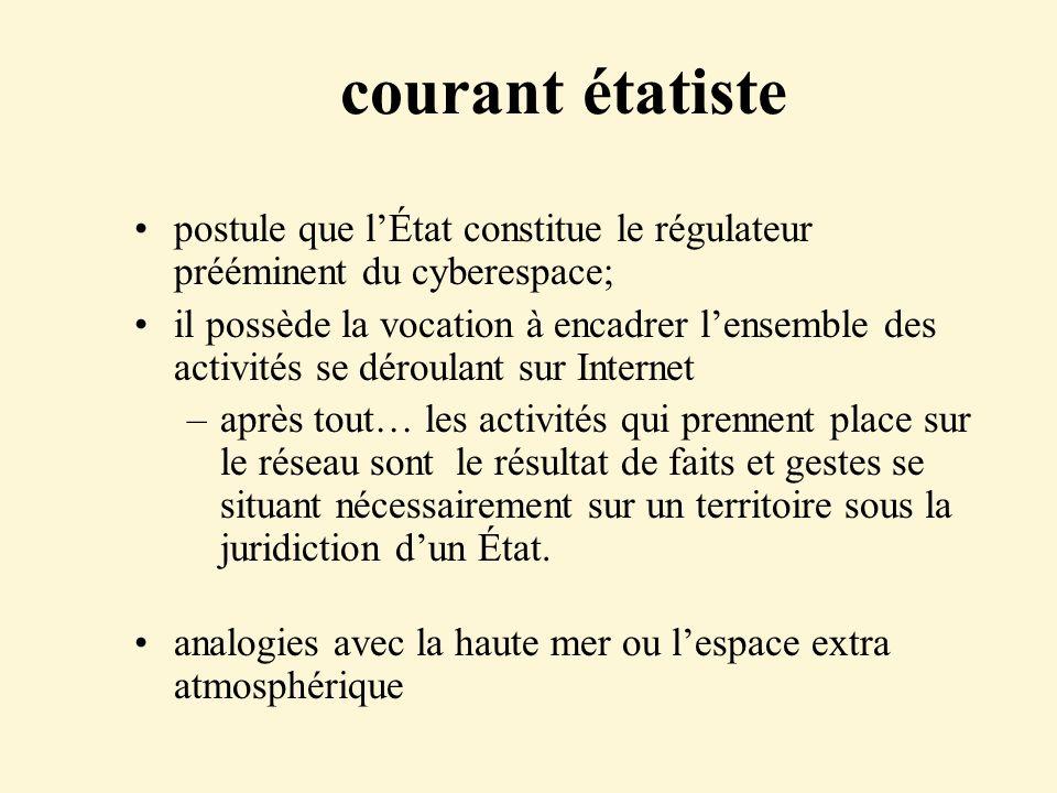 courant étatiste postule que lÉtat constitue le régulateur prééminent du cyberespace; il possède la vocation à encadrer lensemble des activités se dér