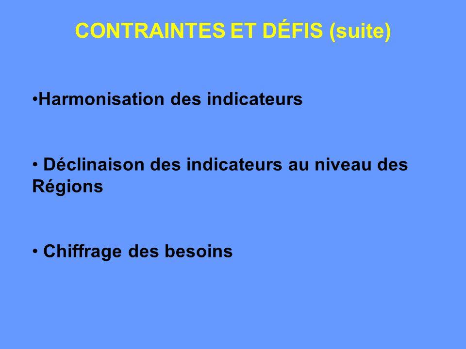 CONTRAINTES ET DÉFIS (suite) Harmonisation des indicateurs Déclinaison des indicateurs au niveau des Régions Chiffrage des besoins