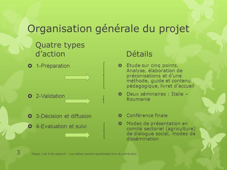 Organisation générale du projet Quatre types daction 1-Préparation 2-Validation 3-Décision et diffusion 4-Evaluation et suivi Détails Etude sur cinq p