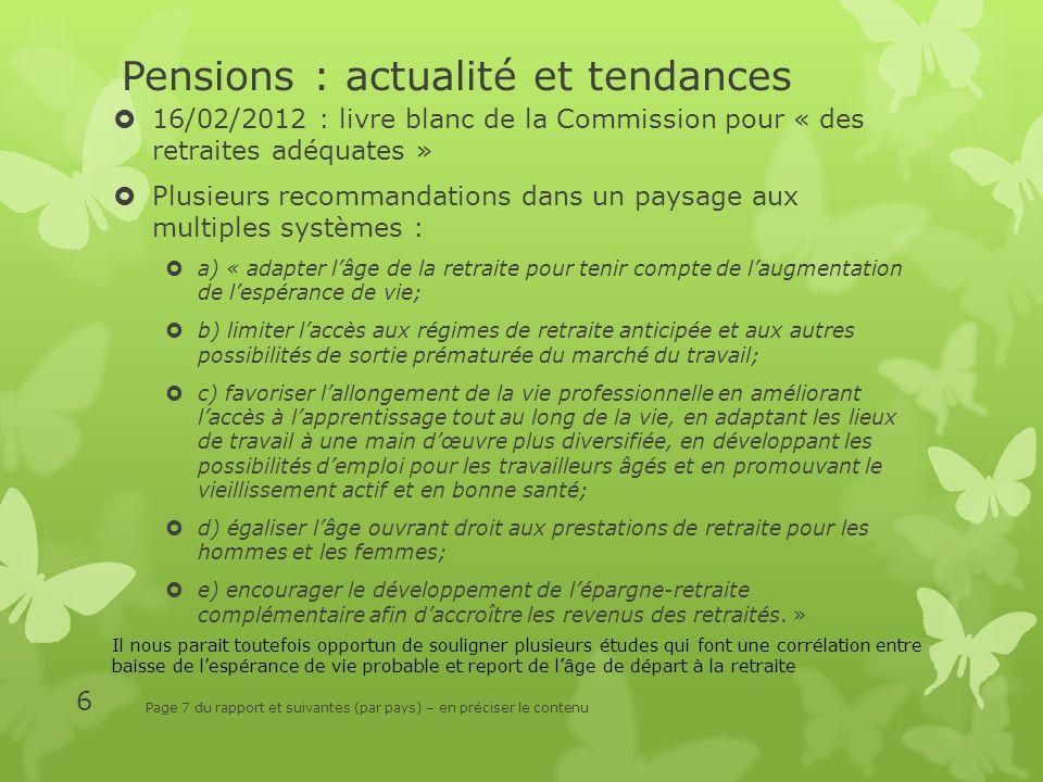 Pensions : actualité et tendances 16/02/2012 : livre blanc de la Commission pour « des retraites adéquates » Plusieurs recommandations dans un paysage