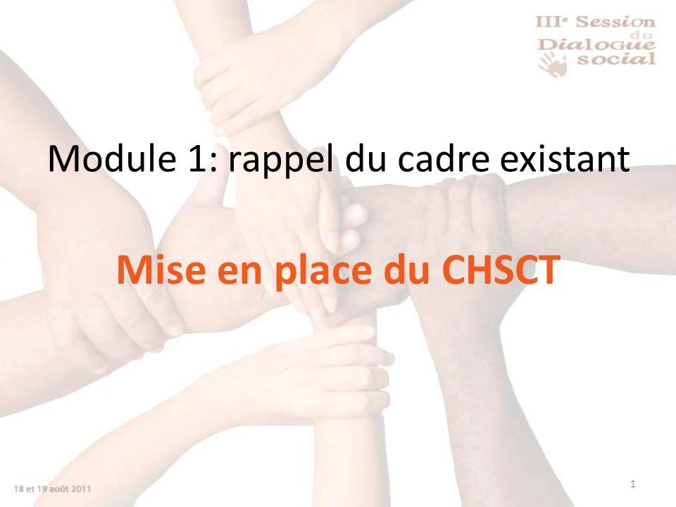 1 Module 1: rappel du cadre existant Mise en place du CHSCT