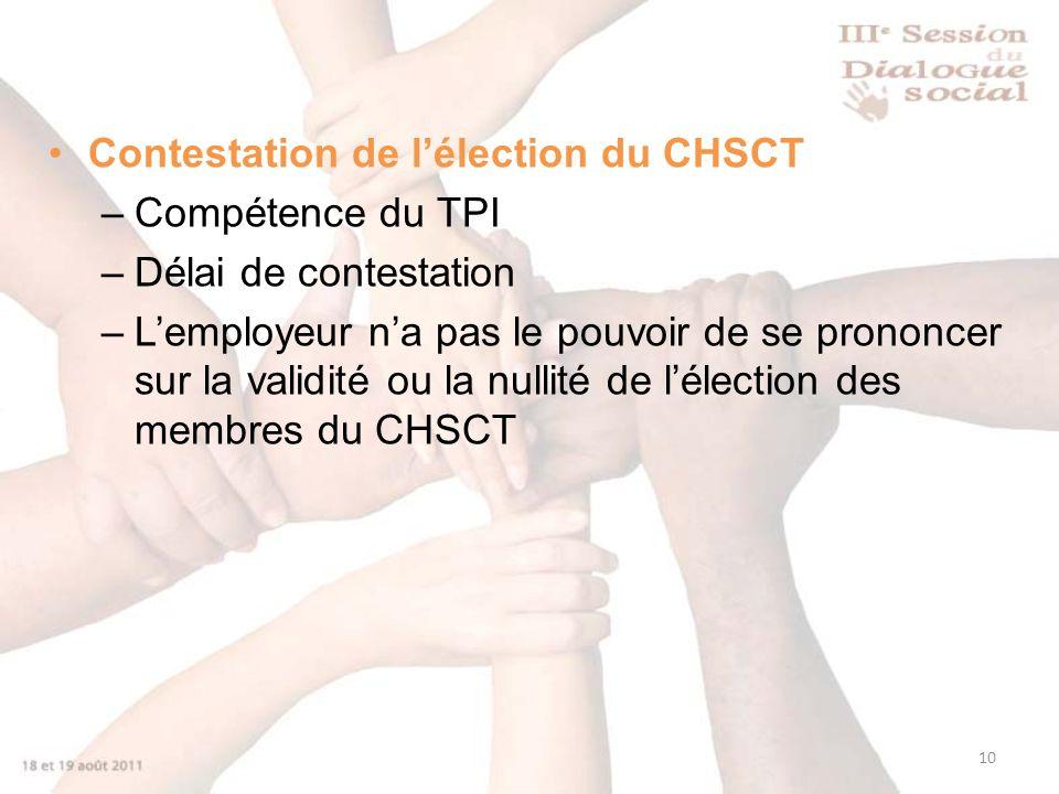 10 Contestation de lélection du CHSCT –Compétence du TPI –Délai de contestation –Lemployeur na pas le pouvoir de se prononcer sur la validité ou la nullité de lélection des membres du CHSCT