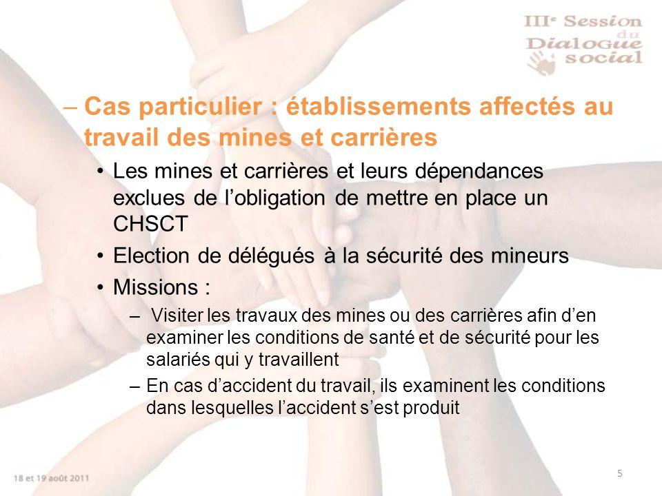 5 –Cas particulier : établissements affectés au travail des mines et carrières Les mines et carrières et leurs dépendances exclues de lobligation de m