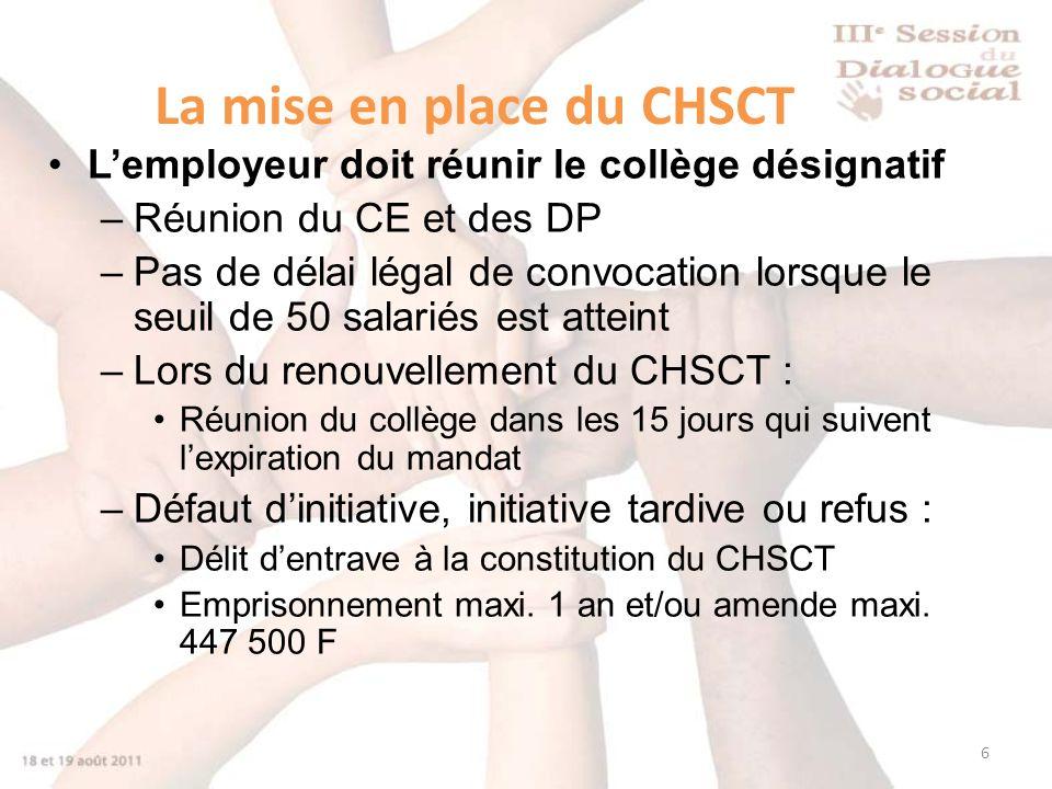 6 La mise en place du CHSCT Lemployeur doit réunir le collège désignatif –Réunion du CE et des DP –Pas de délai légal de convocation lorsque le seuil