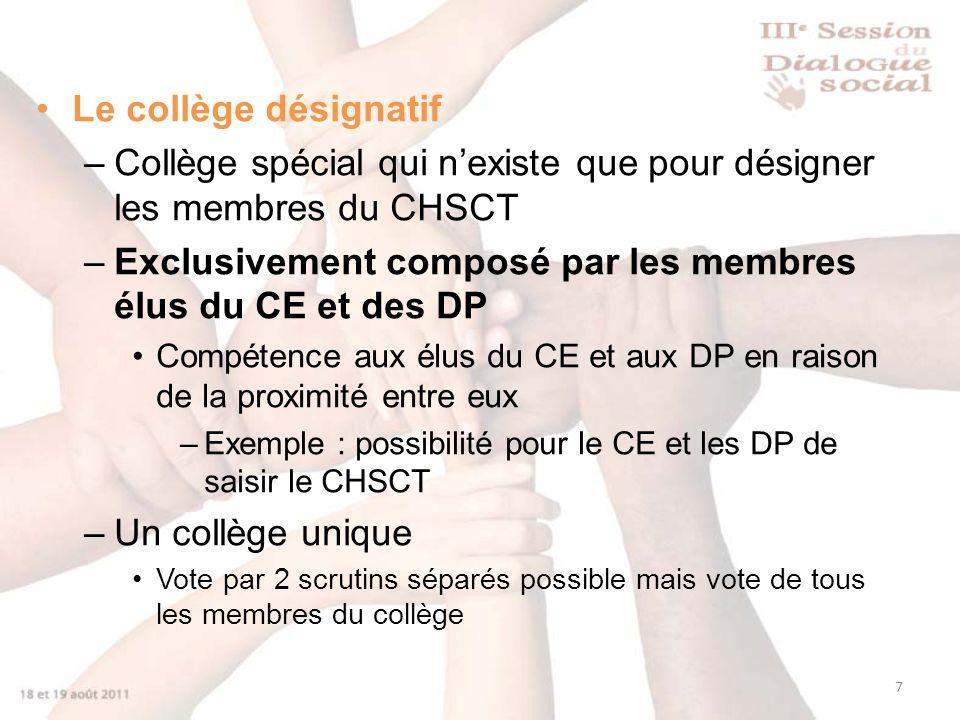 7 Le collège désignatif –Collège spécial qui nexiste que pour désigner les membres du CHSCT –Exclusivement composé par les membres élus du CE et des D