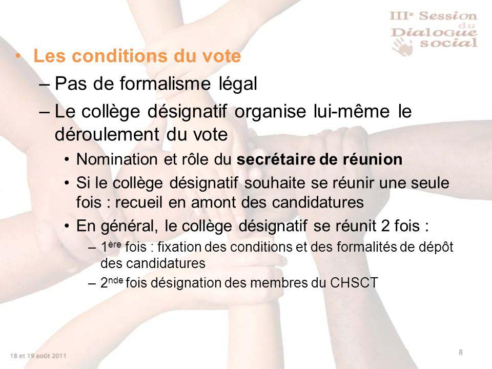 8 Les conditions du vote –Pas de formalisme légal –Le collège désignatif organise lui-même le déroulement du vote Nomination et rôle du secrétaire de