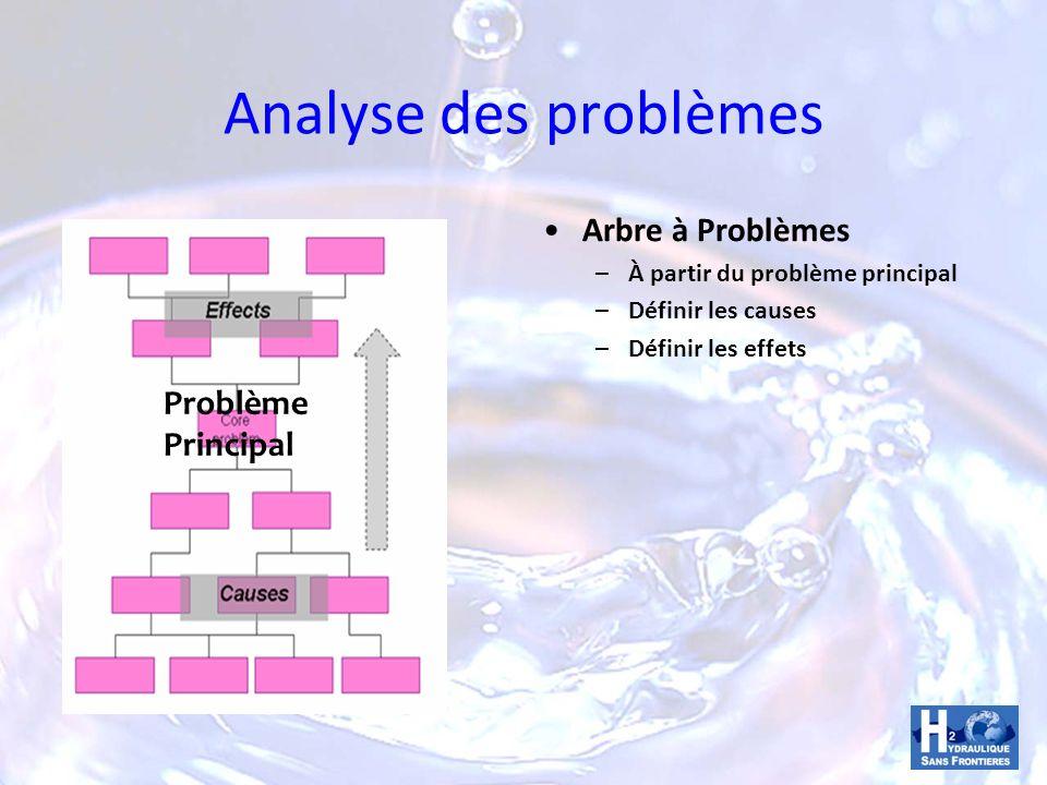 Analyse des problèmes Arbre à Problèmes – À partir du problème principal – Définir les causes – Définir les effets Problème Principal