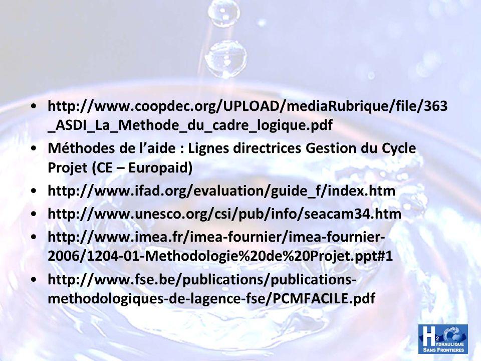 http://www.coopdec.org/UPLOAD/mediaRubrique/file/363 _ASDI_La_Methode_du_cadre_logique.pdf Méthodes de laide : Lignes directrices Gestion du Cycle Pro