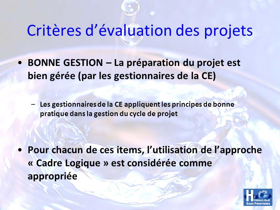 Critères dévaluation des projets BONNE GESTION – La préparation du projet est bien gérée (par les gestionnaires de la CE) –Les gestionnaires de la CE