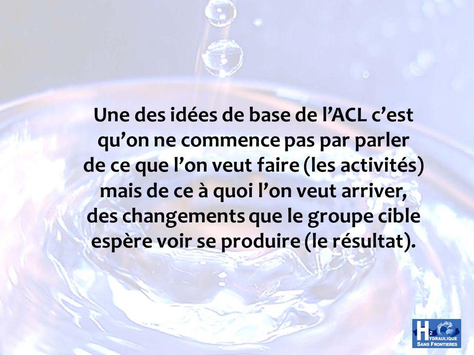 Une des idées de base de lACL cest quon ne commence pas par parler de ce que lon veut faire (les activités) mais de ce à quoi lon veut arriver, des ch