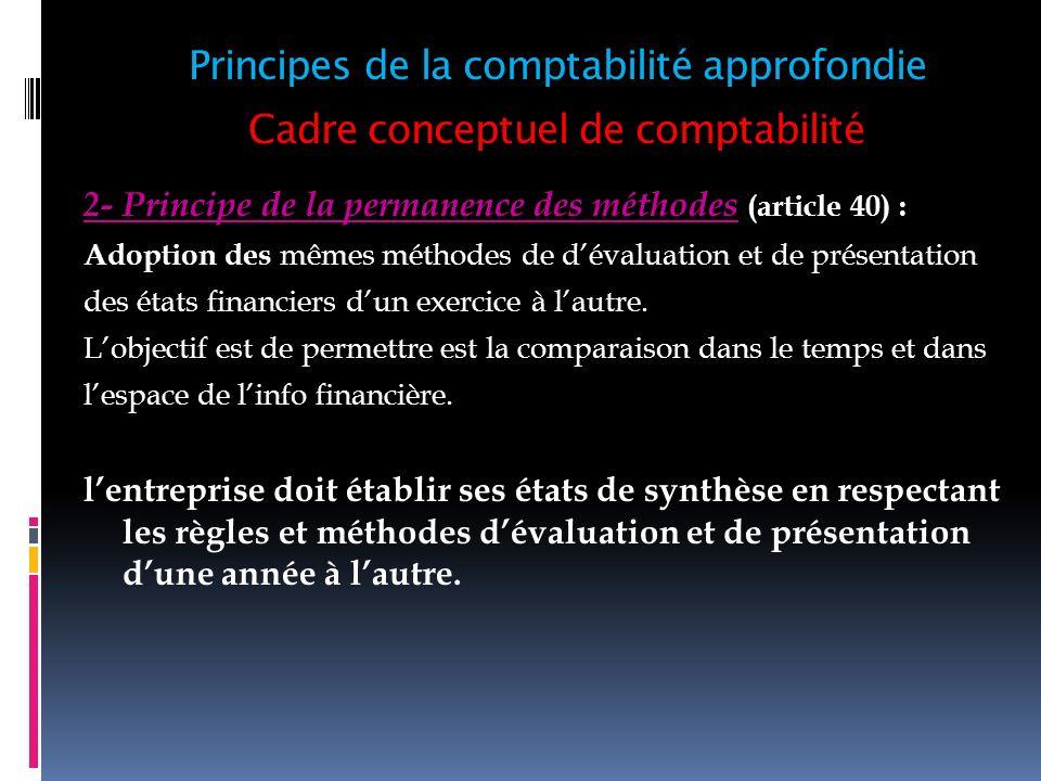 Cadre conceptuel de comptabilité 2- Principe de la permanence des méthodes (article 40) : Adoption des mêmes méthodes de dévaluation et de présentatio