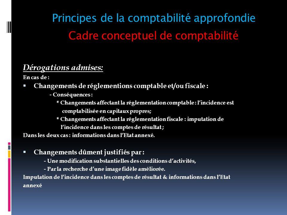 Cadre conceptuel de comptabilité Dérogations admises: En cas de : Changements de réglementions comptable et/ou fiscale : - Conséquences : * Changement