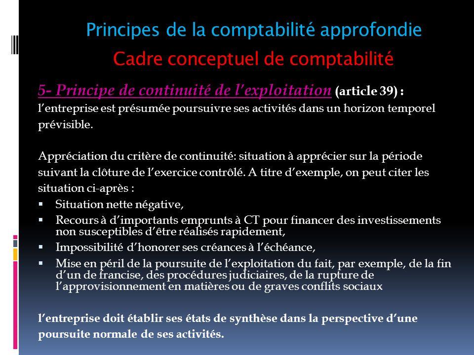 Cadre conceptuel de comptabilité 5- Principe de continuité de lexploitation (article 39) : lentreprise est présumée poursuivre ses activités dans un h