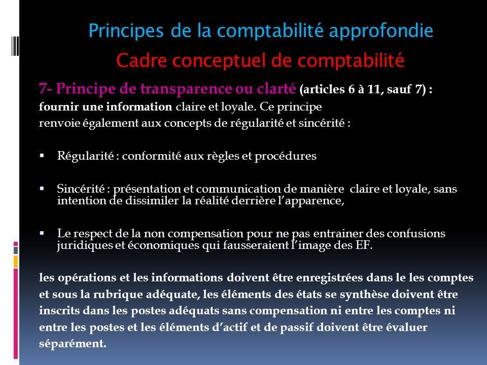 Cadre conceptuel de comptabilité 7- Principe de transparence ou clarté (articles 6 à 11, sauf 7) : fournir une information claire et loyale. Ce princi