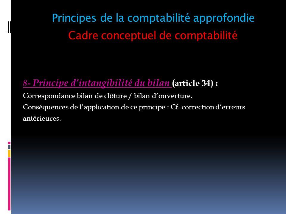 Cadre conceptuel de comptabilité 8- Principe dintangibilité du bilan (article 34) : Correspondance bilan de clôture / bilan douverture. Conséquences d