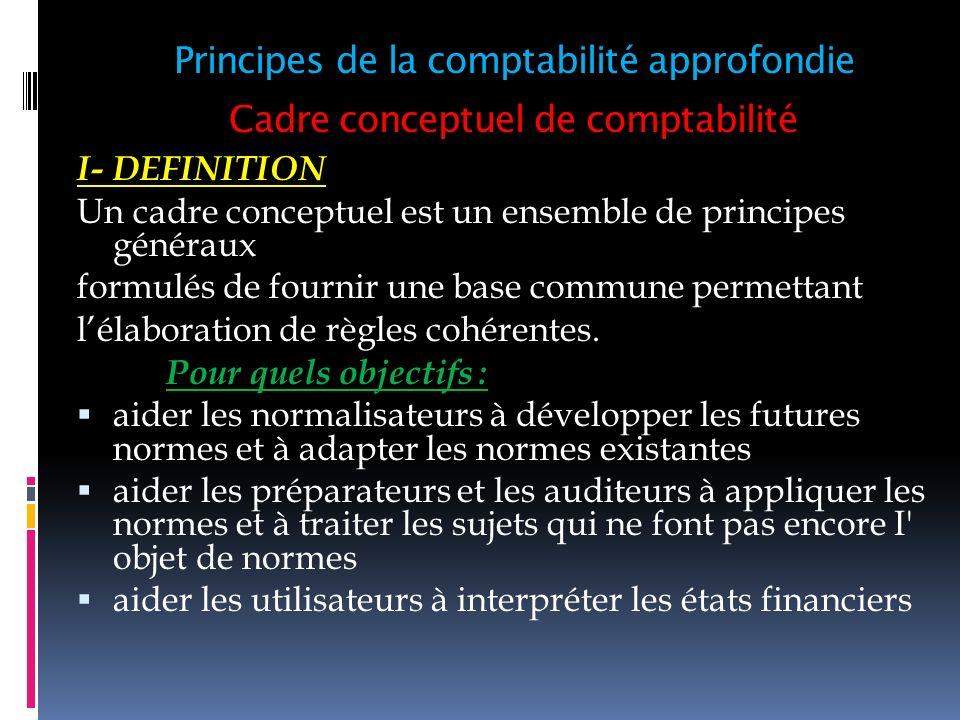 Cadre conceptuel de comptabilité I- DEFINITION Un cadre conceptuel est un ensemble de principes généraux formulés de fournir une base commune permetta