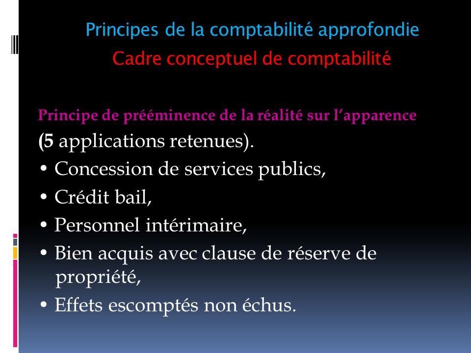 Cadre conceptuel de comptabilité Principe de prééminence de la réalité sur lapparence (5 applications retenues). Concession de services publics, Crédi