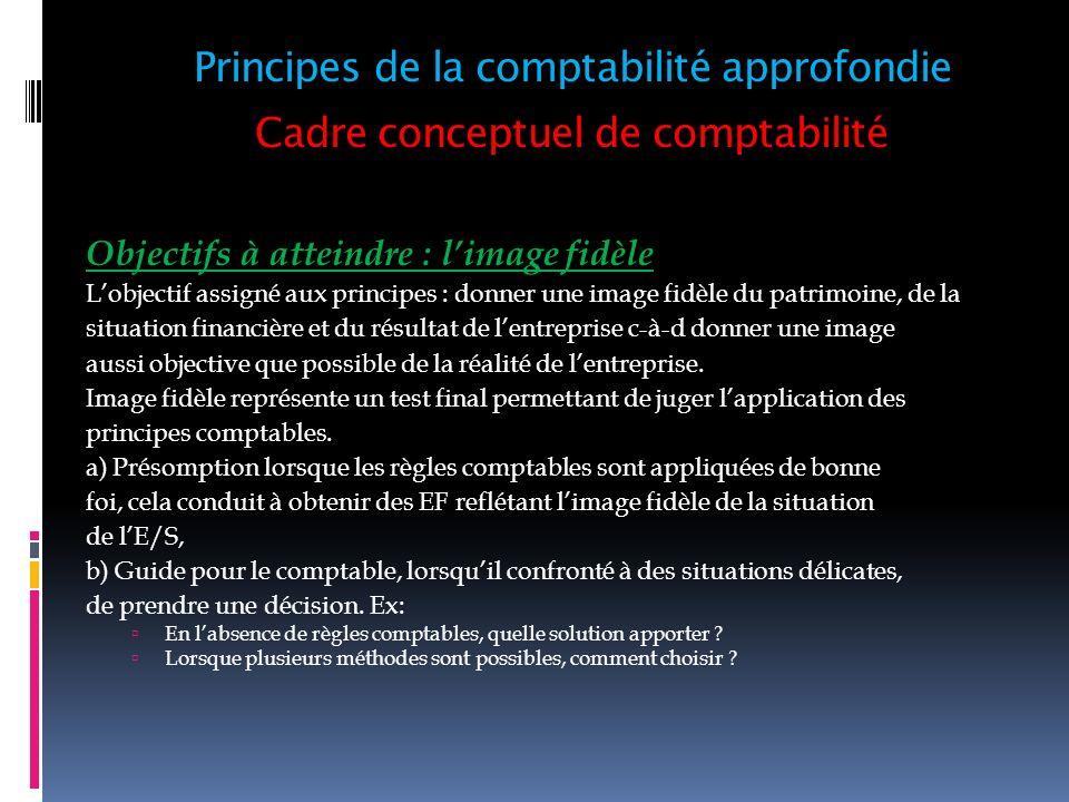 Cadre conceptuel de comptabilité Objectifs à atteindre : limage fidèle Lobjectif assigné aux principes : donner une image fidèle du patrimoine, de la
