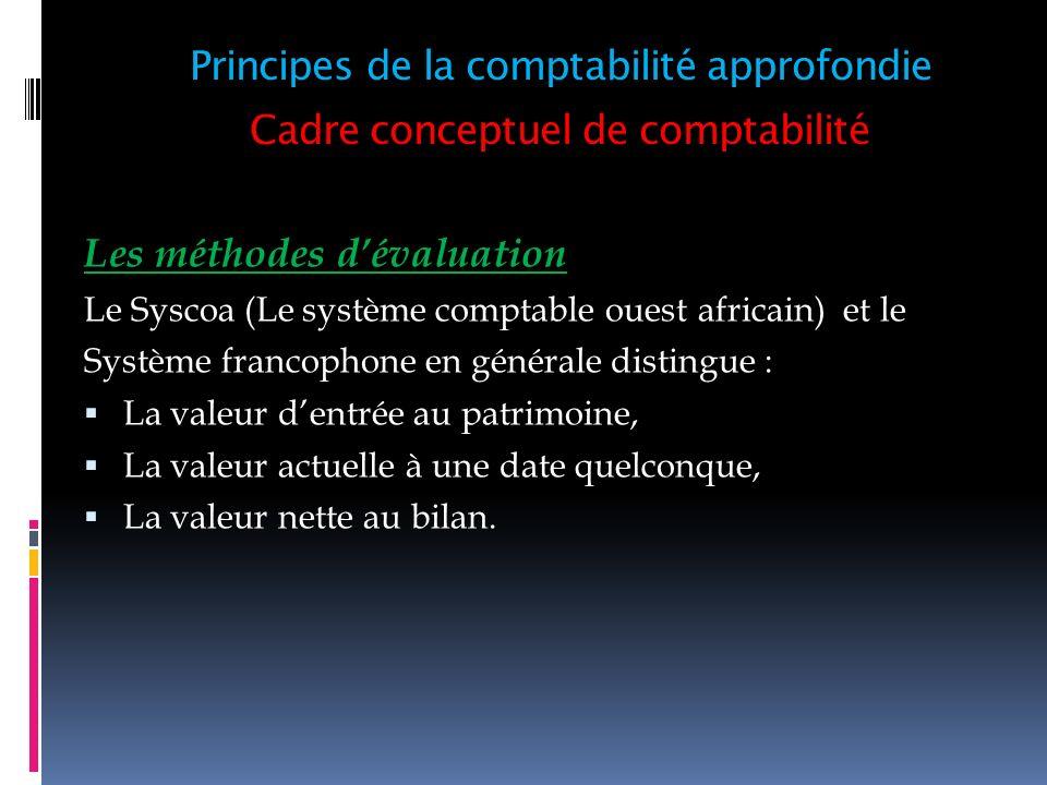 Cadre conceptuel de comptabilité Les méthodes dévaluation Le Syscoa (Le système comptable ouest africain) et le Système francophone en générale distin