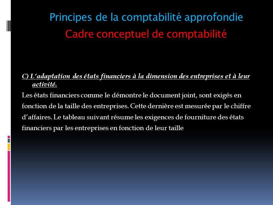 Cadre conceptuel de comptabilité C) Ladaptation des états financiers à la dimension des entreprises et à leur activité. Les états financiers comme le