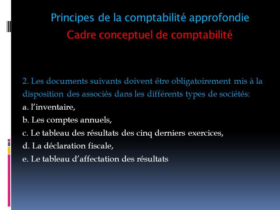 Cadre conceptuel de comptabilité 2. Les documents suivants doivent être obligatoirement mis à la disposition des associés dans les différents types de