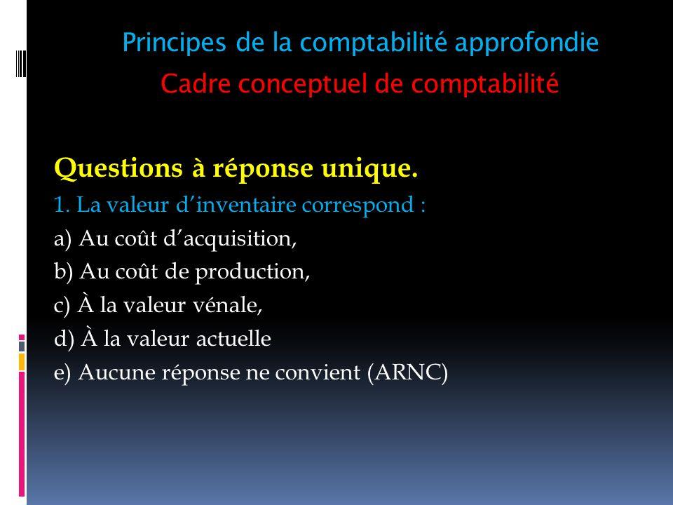 Cadre conceptuel de comptabilité Questions à réponse unique. 1. La valeur dinventaire correspond : a) Au coût dacquisition, b) Au coût de production,