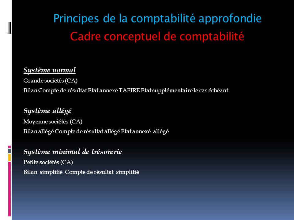 Cadre conceptuel de comptabilité Système normal Grande sociétés (CA) Bilan Compte de résultat Etat annexé TAFIRE Etat supplémentaire le cas échéant Sy
