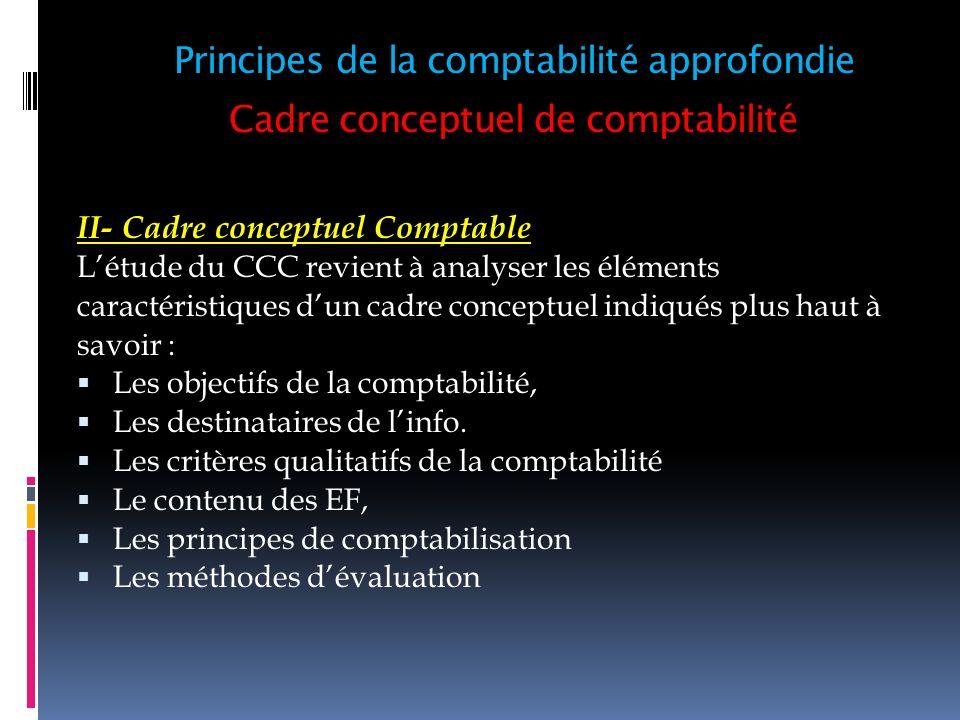 Cadre conceptuel de comptabilité II- Cadre conceptuel Comptable Létude du CCC revient à analyser les éléments caractéristiques dun cadre conceptuel in
