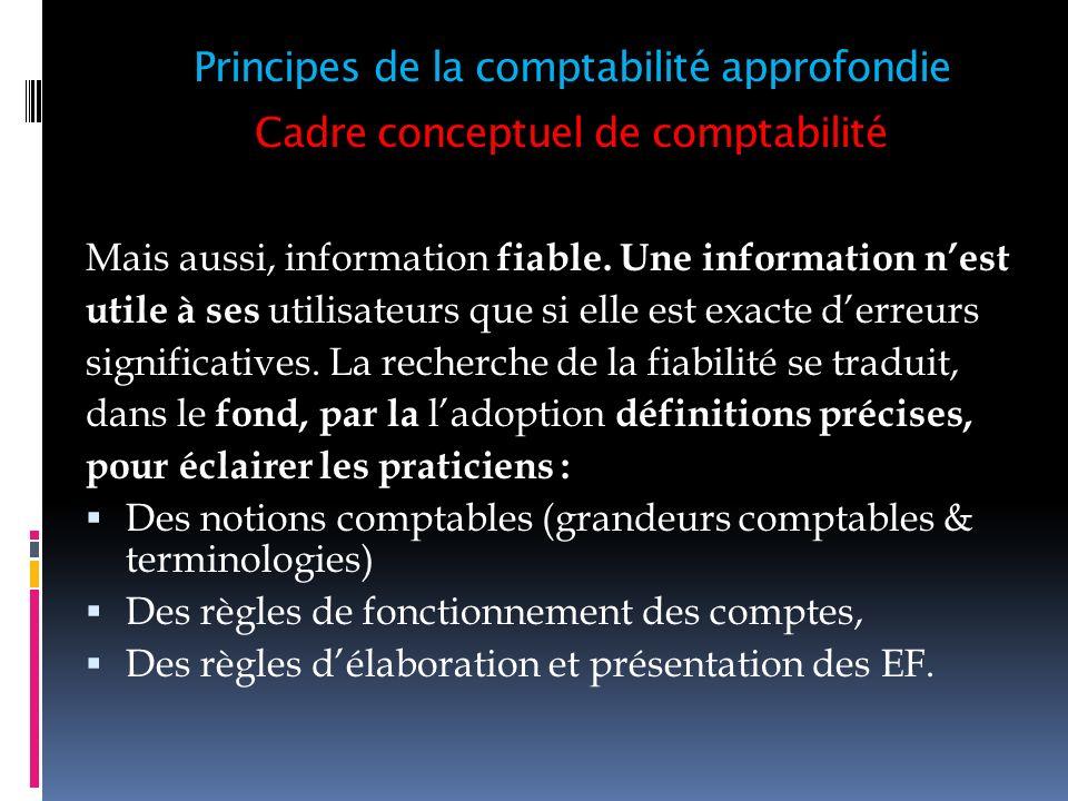 Cadre conceptuel de comptabilité 6- Principe de limportance significative (article 33) : Tout élément susceptible dinfluencer le jugement des destinataires des états Financiers doit être communiqué.