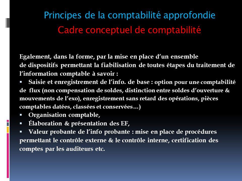 Cadre conceptuel de comptabilité 7- Principe de transparence ou clarté (articles 6 à 11, sauf 7) : fournir une information claire et loyale.