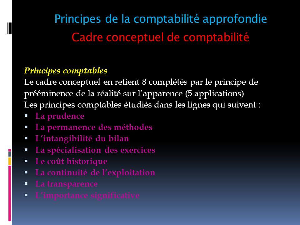 Cadre conceptuel de comptabilité Principes comptables Le cadre conceptuel en retient 8 complétés par le principe de prééminence de la réalité sur lapp