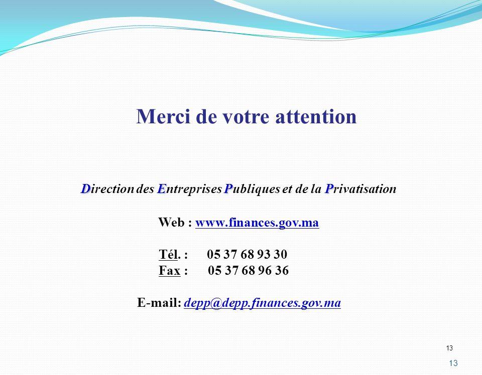 13 DEPP Direction des Entreprises Publiques et de la Privatisation Web : www.finances.gov.ma Tél. :05 37 68 93 30 Fax : 05 37 68 96 36 E-mail: depp@de