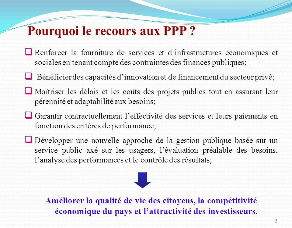 Pourquoi le recours aux PPP ? Renforcer la fourniture de services et dinfrastructures économiques et sociales en tenant compte des contraintes des fin