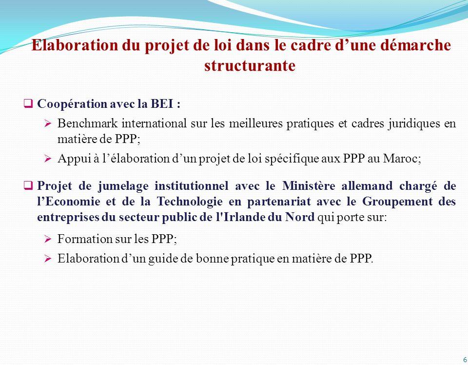 6 Coopération avec la BEI : Benchmark international sur les meilleures pratiques et cadres juridiques en matière de PPP; Appui à lélaboration dun proj