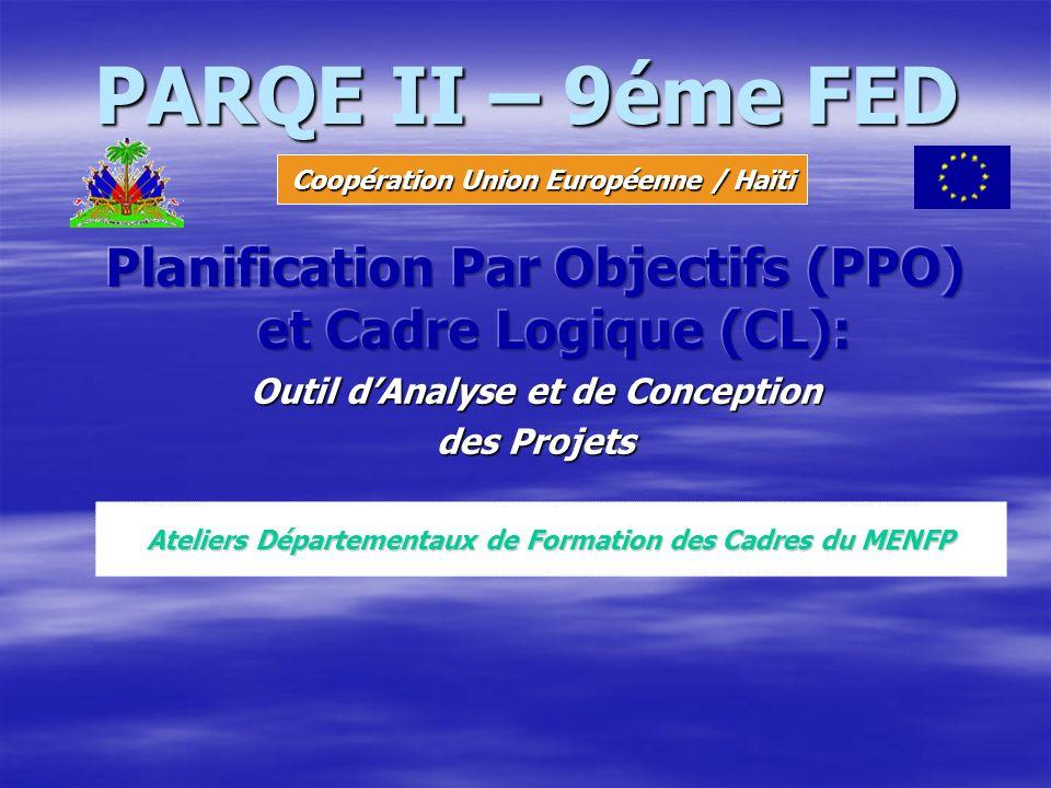 PARQE II – 9éme FED Coopération Union Européenne / Haïti Ateliers Départementaux de Formation des Cadres du MENFP