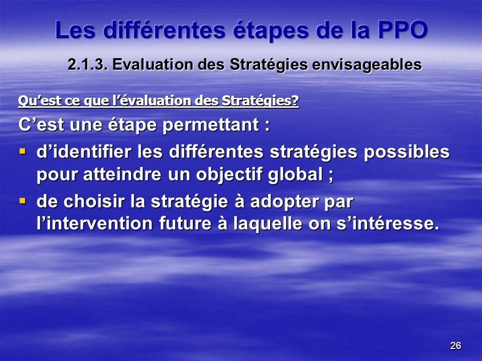 26 Quest ce que lévaluation des Stratégies? Cest une étape permettant : didentifier les différentes stratégies possibles pour atteindre un objectif gl