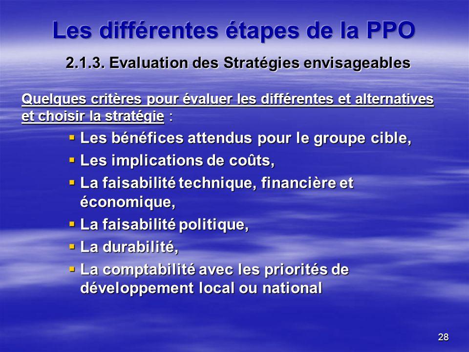 28 2.1.3. Evaluation des Stratégies envisageables Quelques critères pour évaluer les différentes et alternatives et choisir la stratégie : Les bénéfic