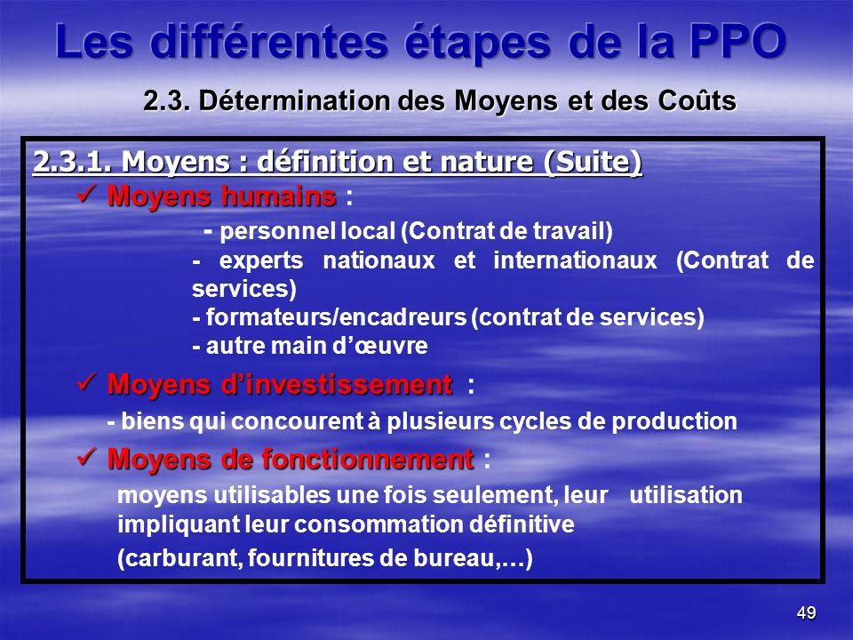 49 2.3.1. Moyens : définition et nature (Suite) Moyens humains Moyens humains : - personnel local (Contrat de travail) - experts nationaux et internat