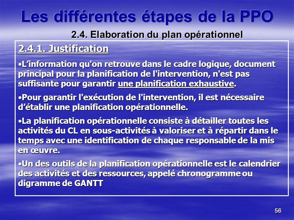 56 2.4.1. Justification Linformation qu'on retrouve dans le cadre logique, document principal pour la planification de l'intervention, n'est pas suffi