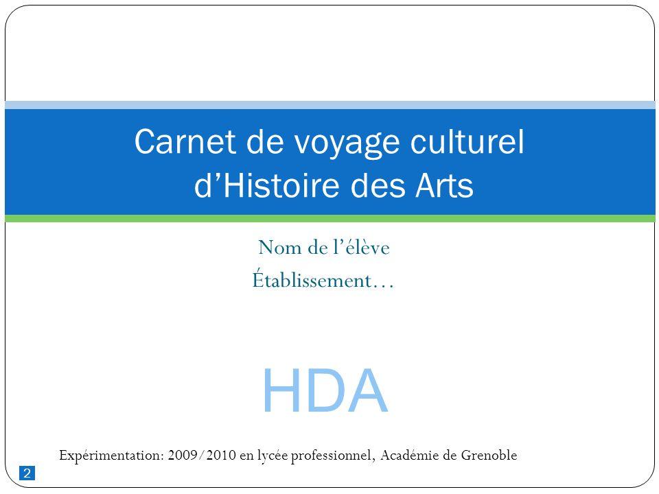2 Nom de lélève Établissement… Carnet de voyage culturel dHistoire des Arts HDA Expérimentation: 2009/2010 en lycée professionnel, Académie de Grenobl