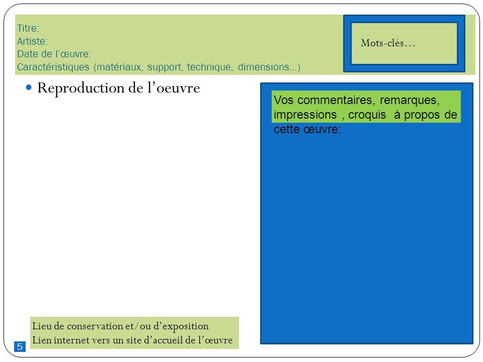 5 Titre: Artiste: Date de lœuvre: Caractéristiques (matériaux, support, technique, dimensions…) Reproduction de loeuvre Lieu de conservation et/ou dex