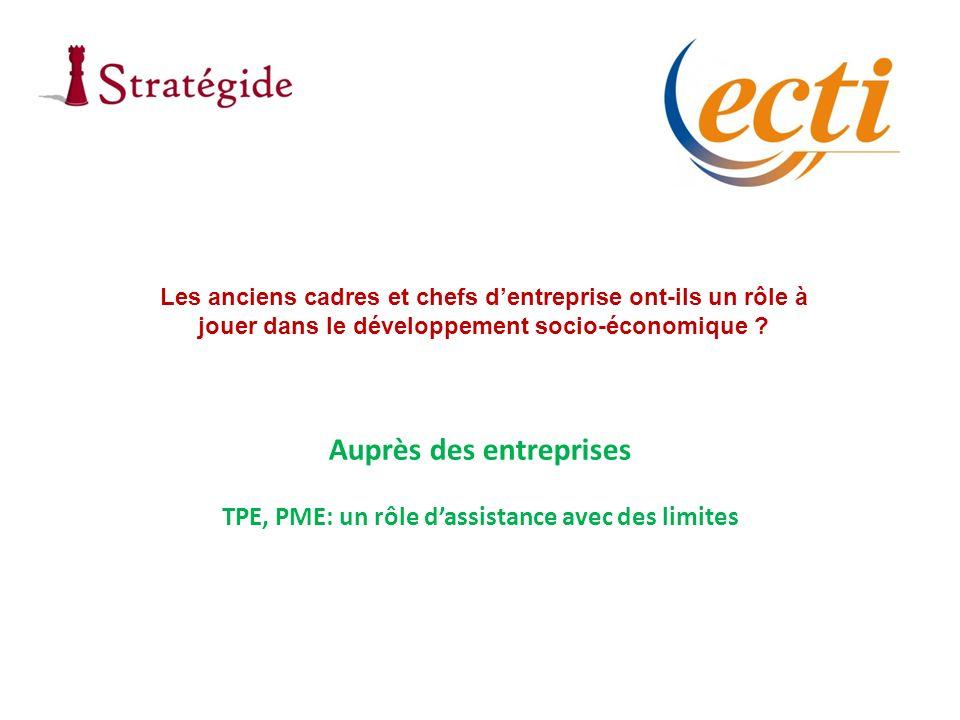 Auprès des entreprises TPE, PME: un rôle dassistance avec des limites Les anciens cadres et chefs dentreprise ont-ils un rôle à jouer dans le développement socio-économique