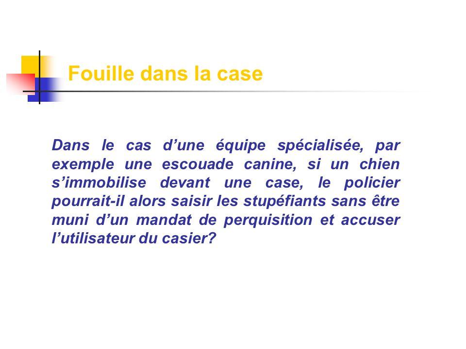 Dans le cas dune équipe spécialisée, par exemple une escouade canine, si un chien simmobilise devant une case, le policier pourrait-il alors saisir le