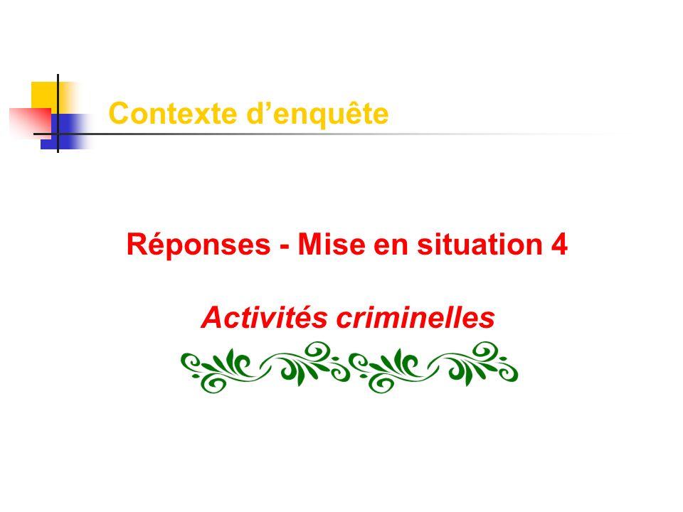 Réponses - Mise en situation 4 Activités criminelles Contexte denquête