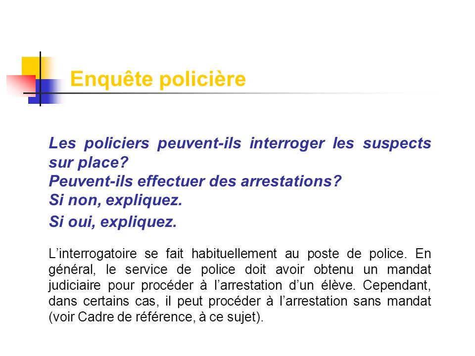 Les policiers peuvent-ils interroger les suspects sur place? Peuvent-ils effectuer des arrestations? Si non, expliquez. Si oui, expliquez. Linterrogat