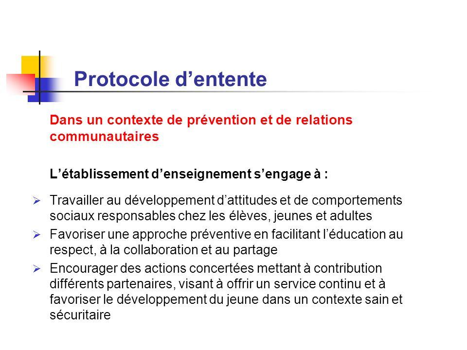 Protocole dentente Dans un contexte de prévention et de relations communautaires Létablissement denseignement sengage à : Travailler au développement
