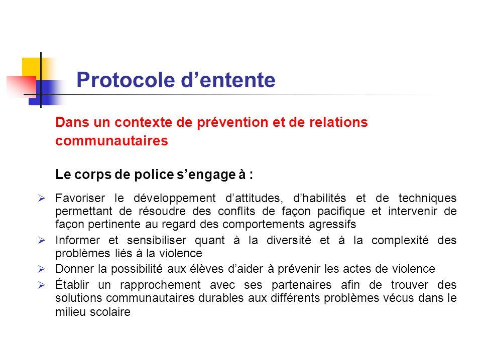 Protocole dentente Dans un contexte de prévention et de relations communautaires Le corps de police sengage à : Favoriser le développement dattitudes,
