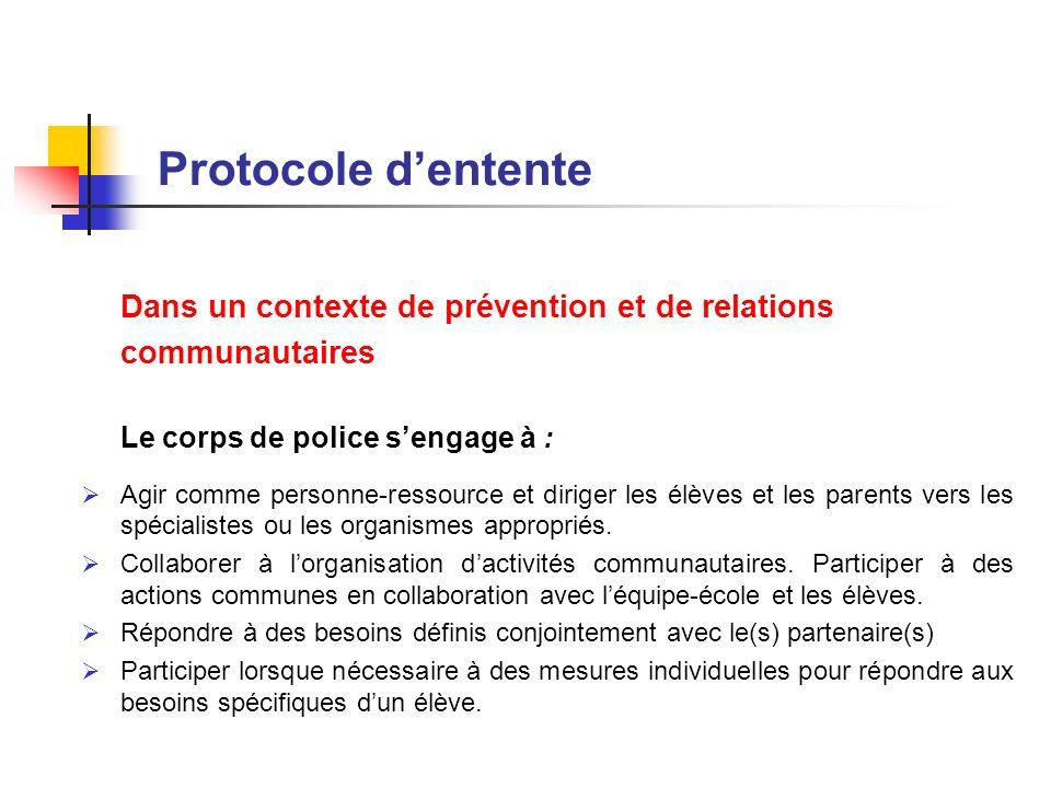 Protocole dentente Dans un contexte de prévention et de relations communautaires Le corps de police sengage à : Agir comme personne-ressource et dirig